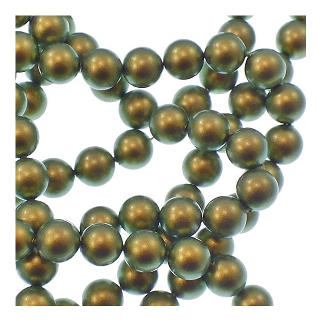5810 6mm Round Pearl Beads - Crystal Iridescent Green - 25pk