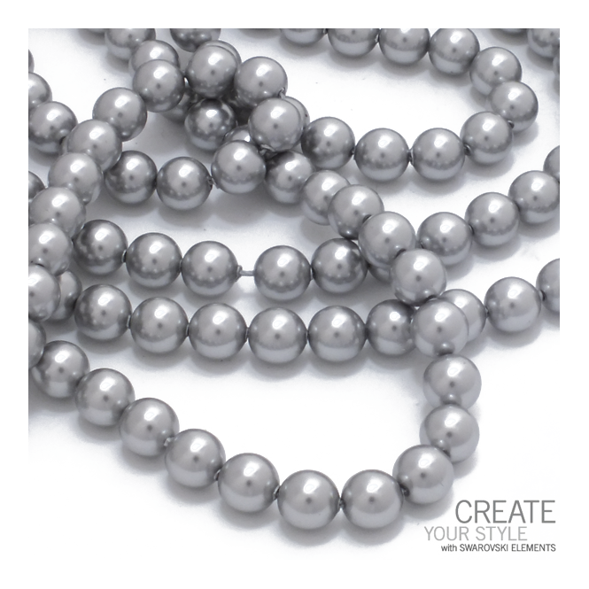 3447e052953f Swarovski 5810 6mm Round Pearl Beads - Crystal Light Grey - The Bead ...