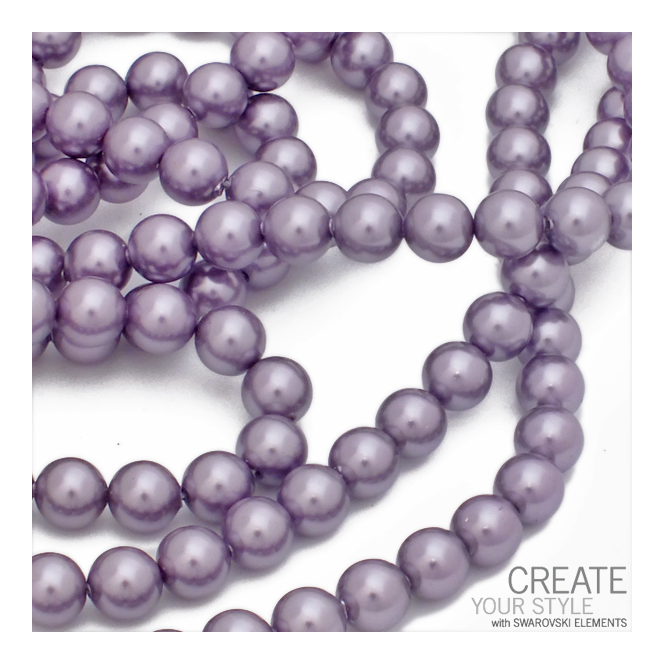 5810 6mm Round Pearl Beads - Crystal Mauve - 25pk