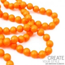 Swarovski 5810 6mm Round Pearl Beads - Crystal Neon Orange - 25pk