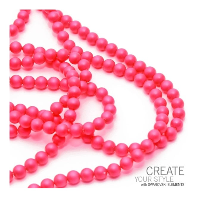 5810 6mm Round Pearl Beads - Crystal Neon Pink - 25pk