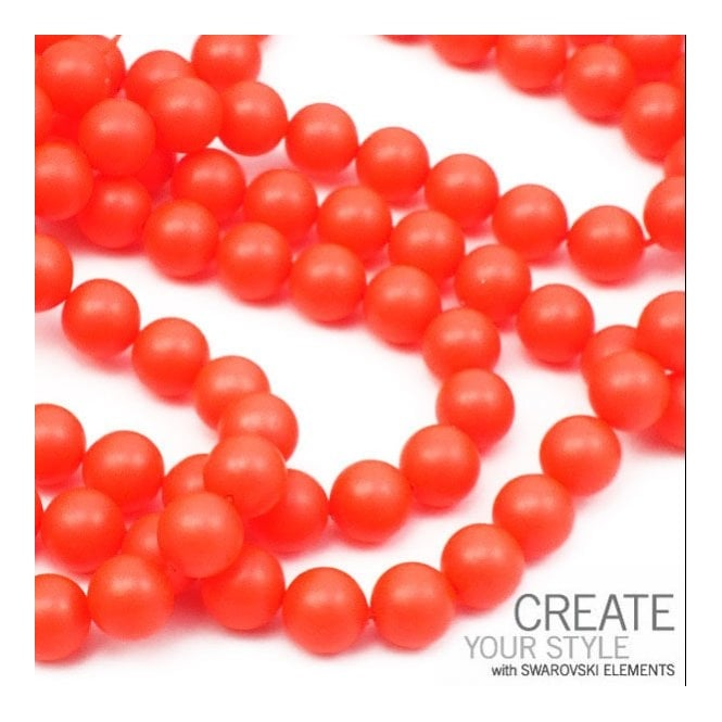5810 6mm Round Pearl Beads - Crystal Neon Red - 25pk