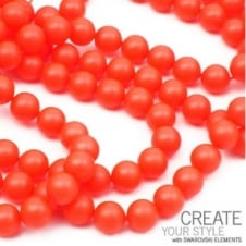 Swarovski 5810 6mm Round Pearl Beads - Crystal Neon Red - 25pk