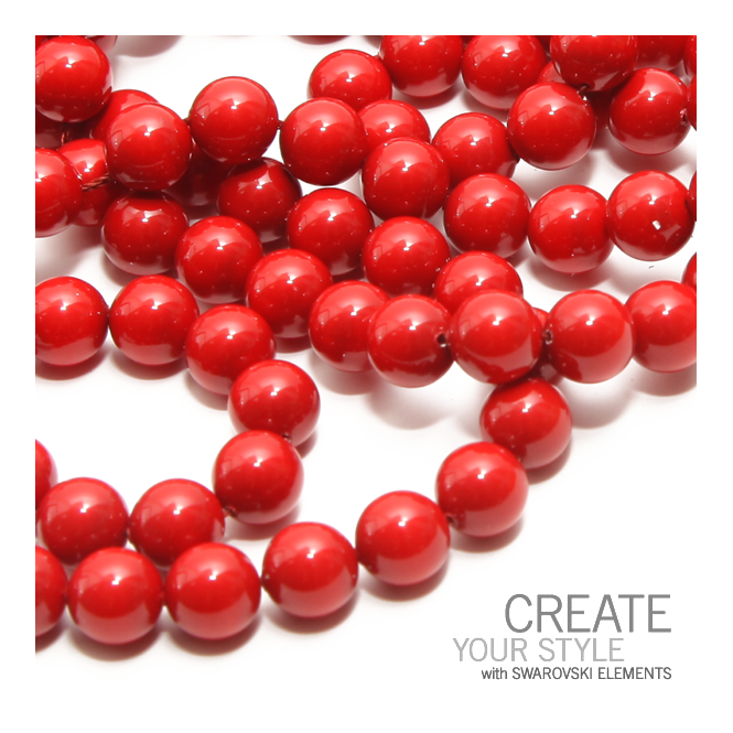 5810 6mm Round Pearl Beads - Crystal Red Coral - 25pk