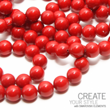 Swarovski 5810 6mm Round Pearl Beads - Crystal Red Coral - 25pk