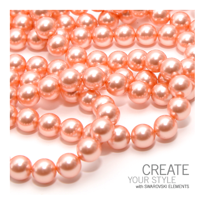 Swarovski 5810 6mm Round Pearl Beads - Crystal Rose Peach - 25pk