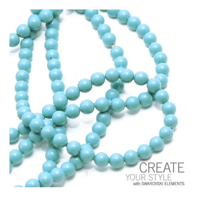 5810 6mm Round Pearl Beads - Crystal Turquoise - 25pk