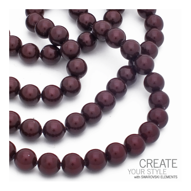 5810 8mm Round Pearl Beads - Crystal Maroon - 20pk