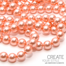 Swarovski 5810 8mm Round Pearl Beads - Crystal Rose Peach - 20pk