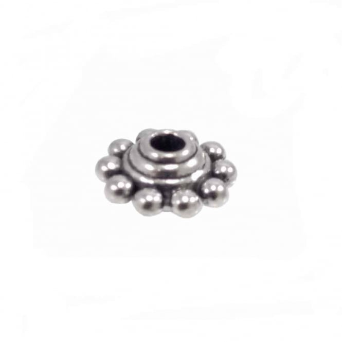 Tibetan Style Beads Bobbled Disc Spacer 10x5mm - Antique Silver Plated - 20pk