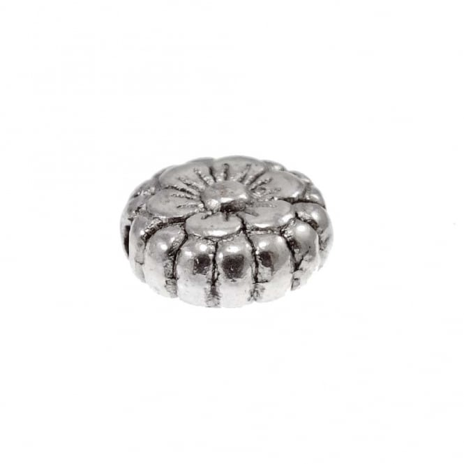 Tibetan Style Beads Flower Patterned Disc 7x3mm - Antique Silver Plated - 20pk