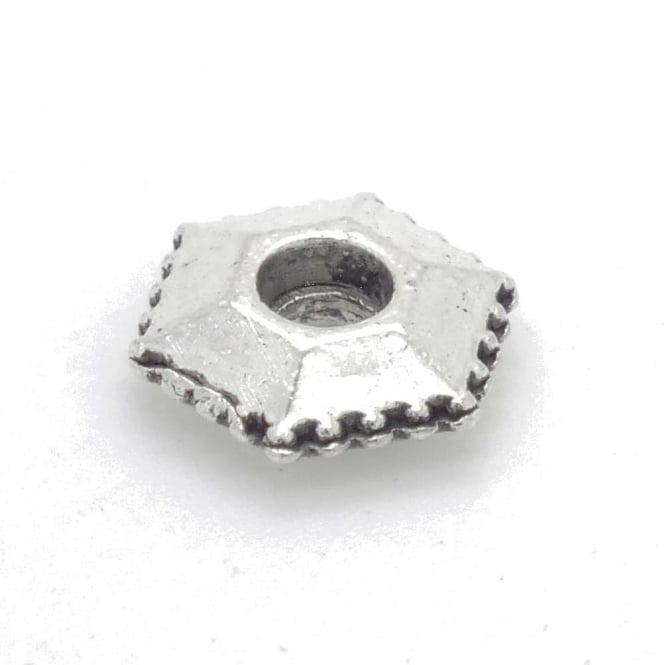 Tibetan Style Beads Hexagon Spacer 10mm - Antique Silver Plated - 10pk