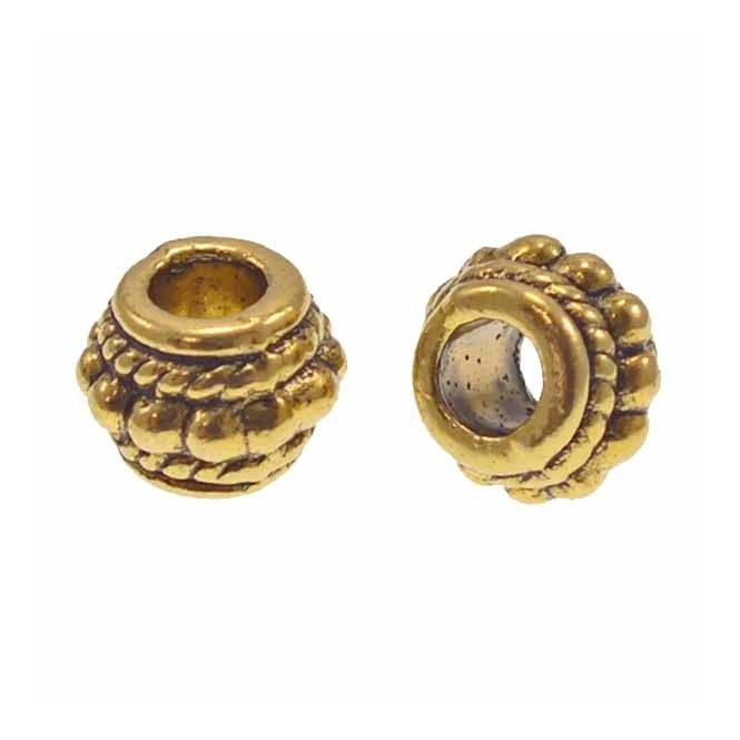 Tibetan Style Beads Large Hole Barrel 8mm - Antique Gold Plated - 10pk
