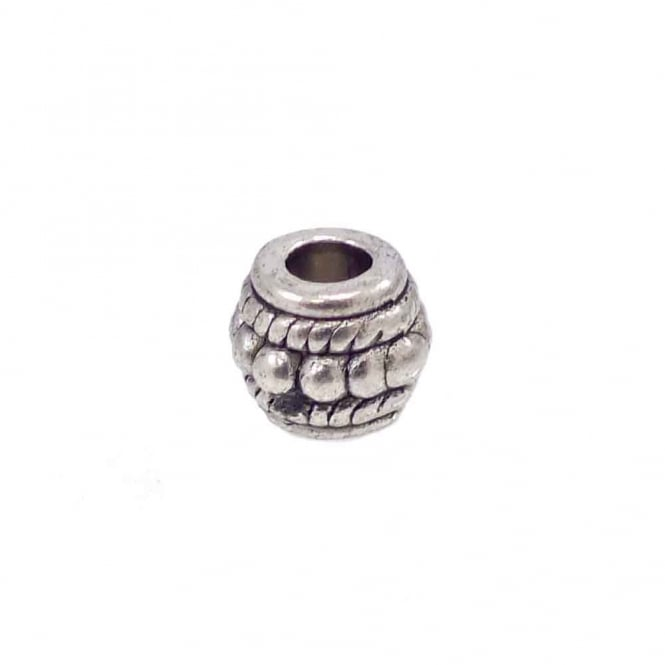 Tibetan Style Beads Large Hole Barrel 8mm - Antique Silver Plated - 10pk