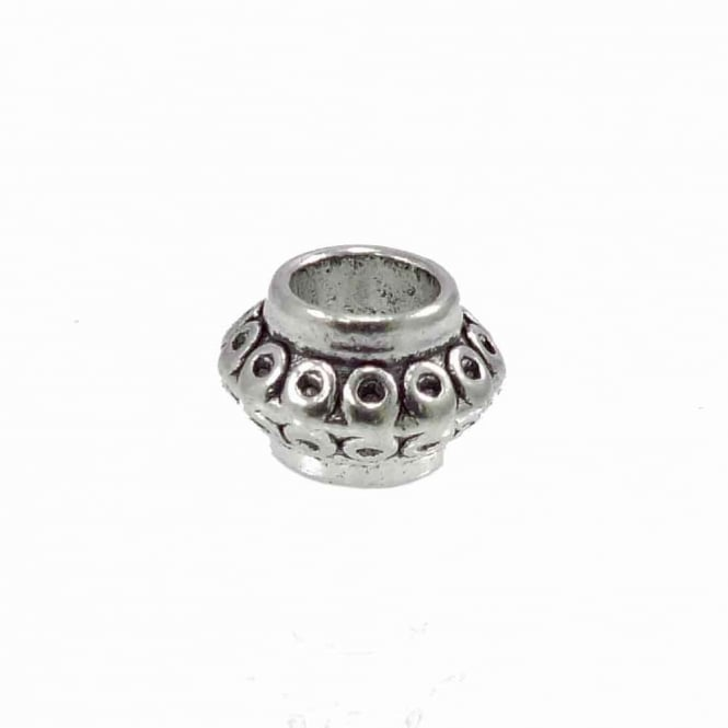 Tibetan Style Beads Large Hole Rondelle 9x6mm - Antique Silver Plated - 10pk