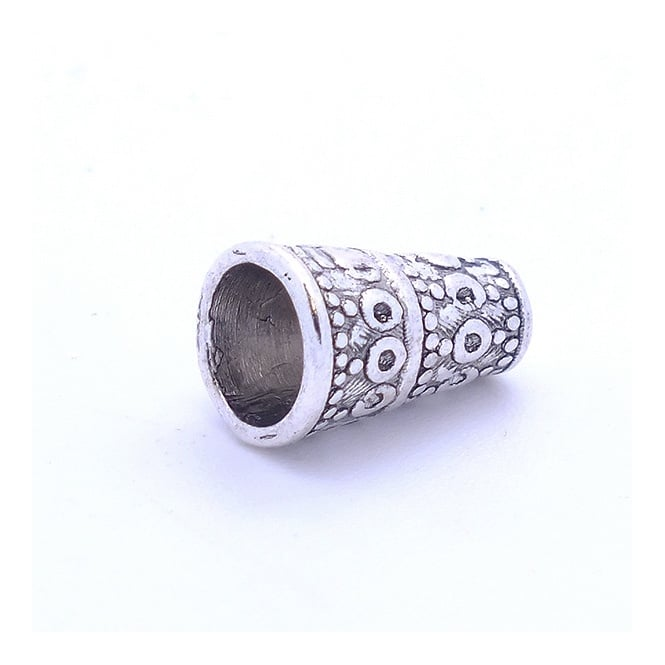 Tibetan Style Beads Patterned Cone 10x7mm - Antique Silver Plated - 10pk