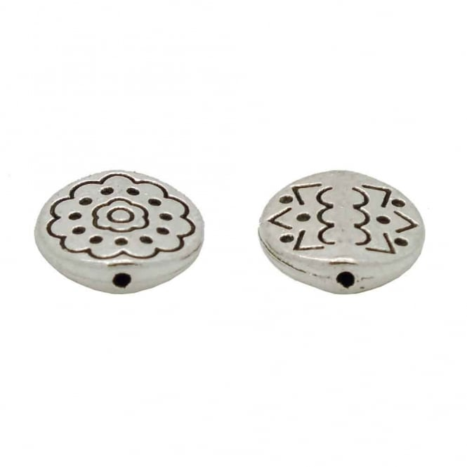 Tibetan Style Beads Patterned Flower Disc 12mm - Antique Silver Plated - 10pk