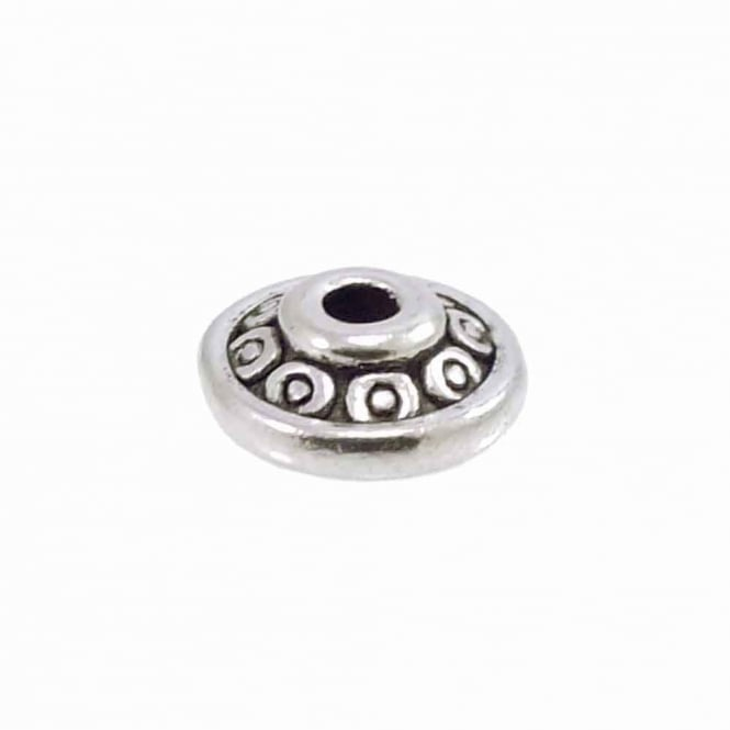 Tibetan Style Beads Patterned Swirl Disc Spacer 6mm - Antique Silver Plated - 20pk