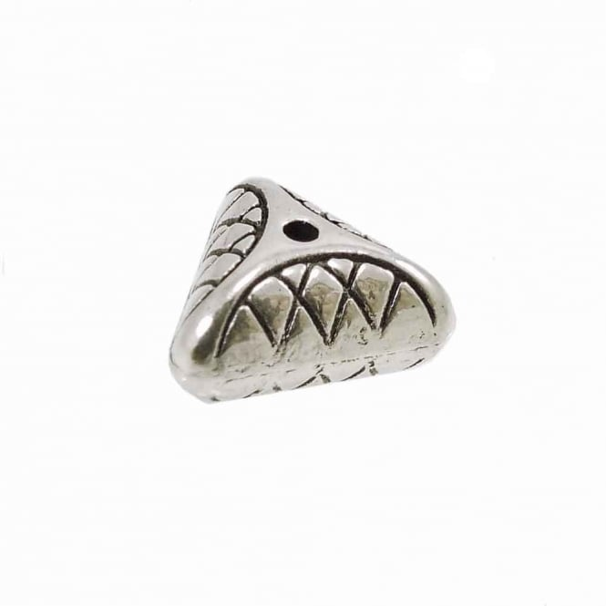 Tibetan Style Beads Patterned Triangle 10mm - Antique Silver Plated - 10pk