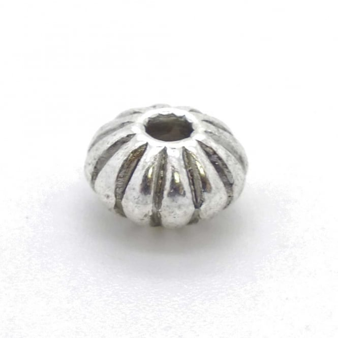 Tibetan Style Beads Ridged Disc Spacer 8x5mm - Antique Silver Plated - 10pk