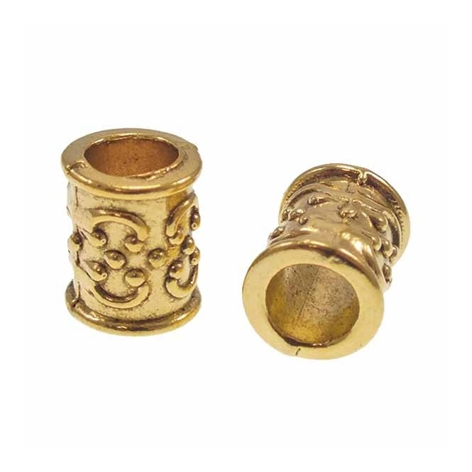 Tibetan Style Beads Scroll Patterned Tube 13x10mm - Antique Gold Plated - 5pk