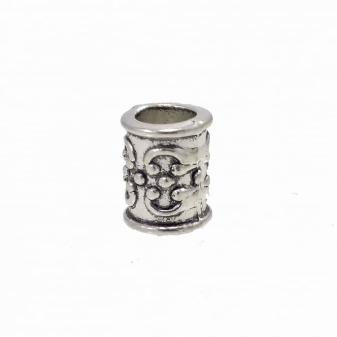 Tibetan Style Beads Scroll Patterned Tube 13x10mm - Antique Silver Plated - 5pk