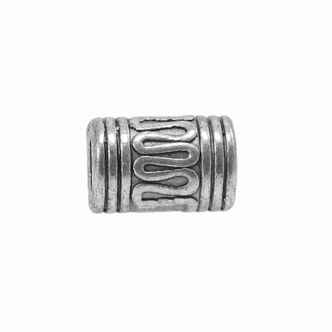 Tibetan Style Beads Wave Patterned Tube 10x7mm - Antique Silver Plated - 10pk