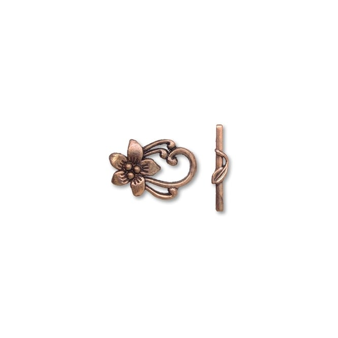 Tibetian Style Flower Toggle 28x20mm - Antique Copper Plated - 2pk