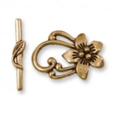 Tibetian Style Flower Toggle 28x20mm - Antique Gold Plated - 2pk
