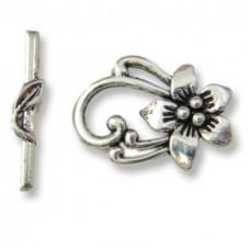 Tibetian Style Flower Toggle 28x20mm - Antique Silver Plated - 2pk