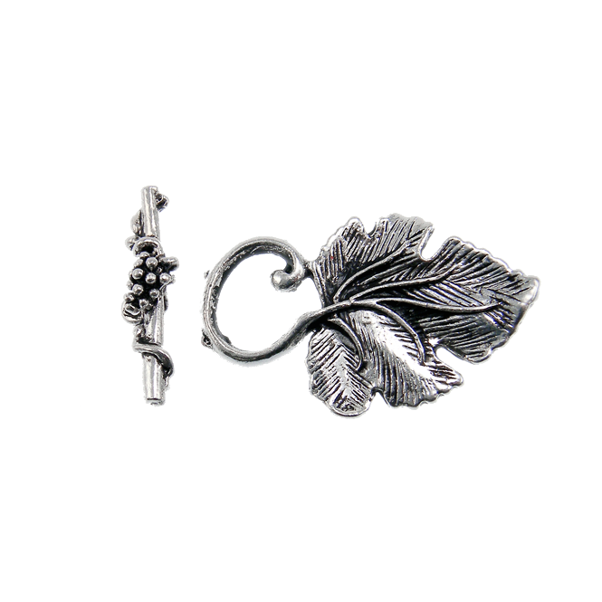 Tibetian Style Vine Leaf Toggle 36x22mm - Antique Silver Plated - 2pk