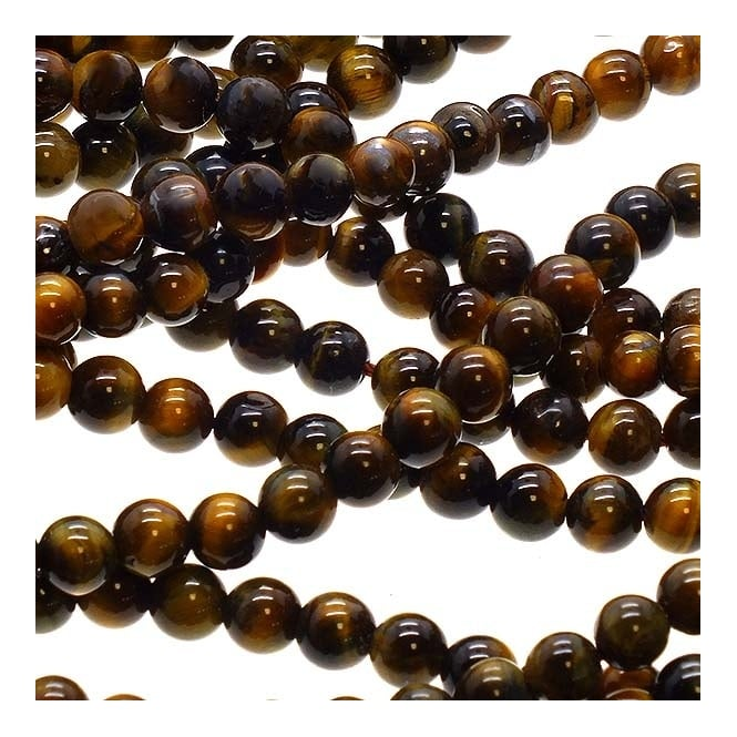 "Tiger Eye Round Beads 6mm - 15.5"" Strand"