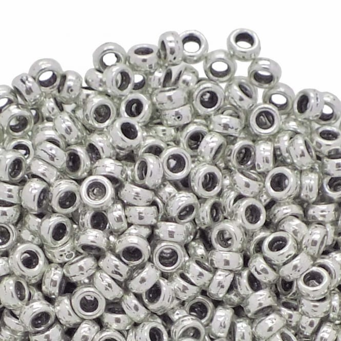 Tiny Rondelle Spacer Beads 4x2mm - Antique Silver Plated - 50pk
