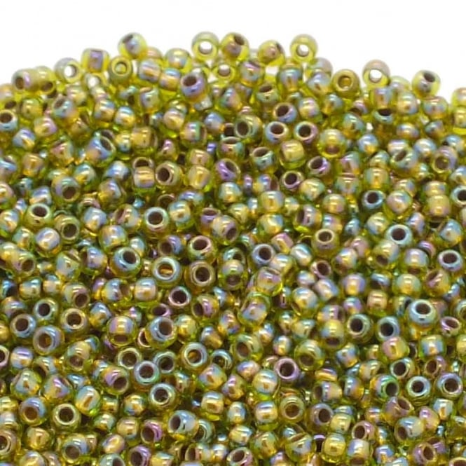 Toho Seed Beads 11/0 - Gold Lined Rainbow Peridot - 10g
