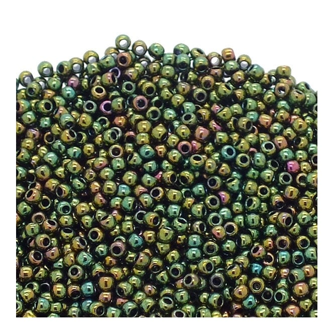 Seed Beads 11/0 - Higher Metallic Iris Olivine - 10g