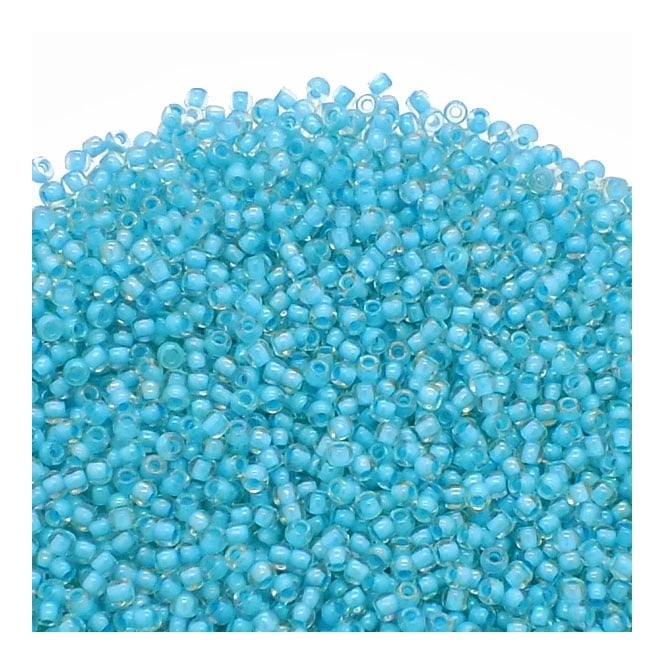Seed Beads 11/0 - Inside Colour Luster Crystal/Opaque Aqua Lined - 10g