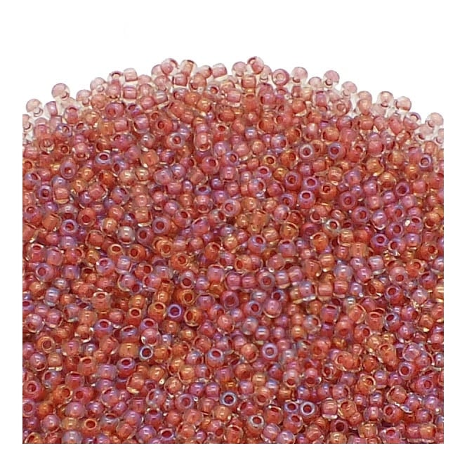 Toho Seed Beads 11/0 - Inside Colour Luster Crystal/Terra Cotta Lined - 10g