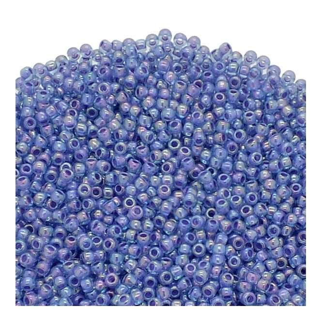 Toho Seed Beads 11/0 - Inside Colour Rainbow Aqua/Opaque Purple Lined - 10g