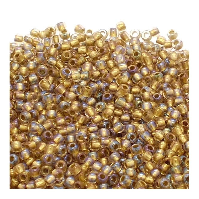 Seed Beads 11/0 - Inside Colour Rainbow Crystal/Gold Lined - 10g