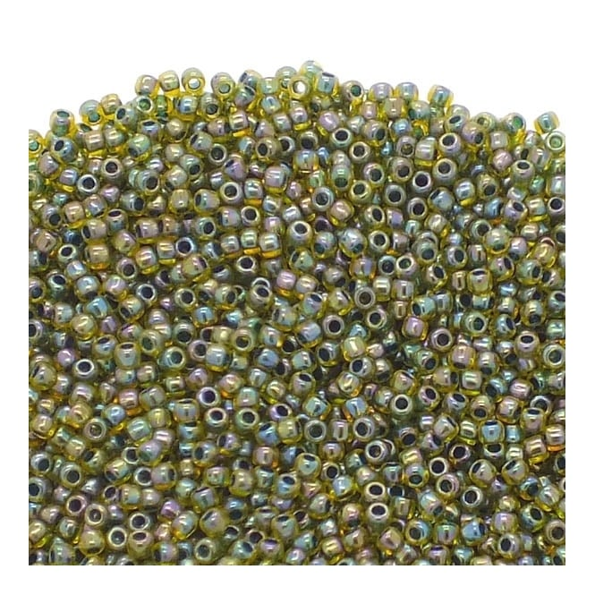 Toho Seed Beads 11/0 - Inside Colour Rainbow Jonquil/Forest Green Lined - 10g