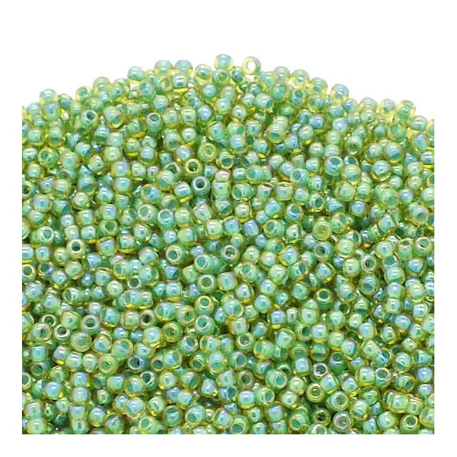 Seed Beads 11/0 - Inside Colour Rainbow Lt Jonquil/Mint Lined - 10g