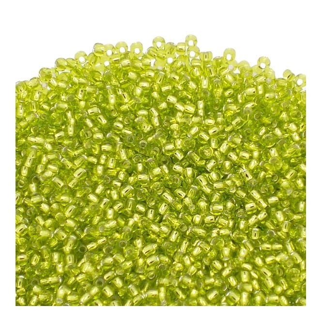 Toho Seed Beads 11/0 - Silver Lined Lime Green - 10g
