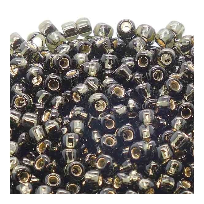 Toho Seed Beads 6/0 - Dark Silver Lined Black Diamond - 10g