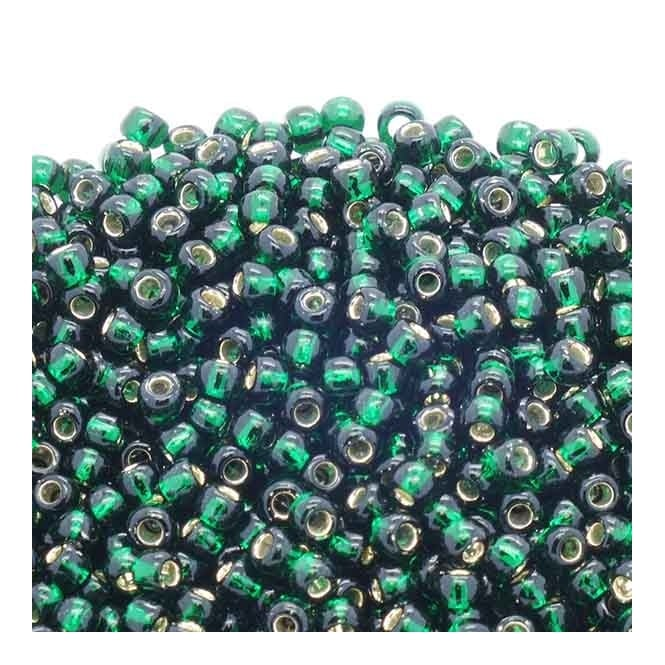 Toho Seed Beads 6/0 - Silver Lined Green Emerald - 10g