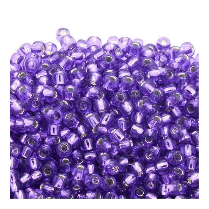 Seed Beads 6/0 - Silver Lined Purple - 10g