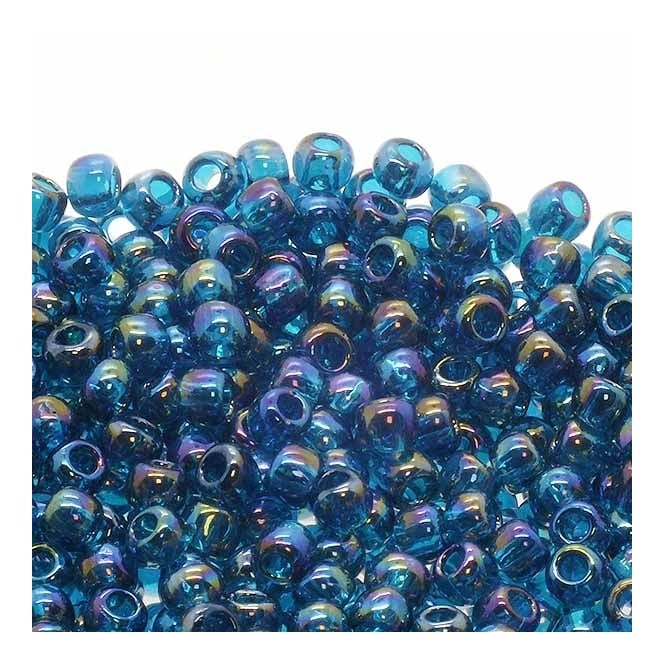 Seed Beads 6/0 - Transparent Rainbow Teal - 10g