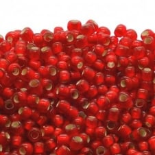 Toho Seed Beads 8/0 - Silver Lined Frosted Siam Ruby - 10g