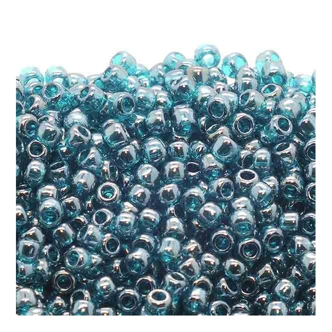 Seed Beads 8/0 - Transparent Lustered Teal - 10g