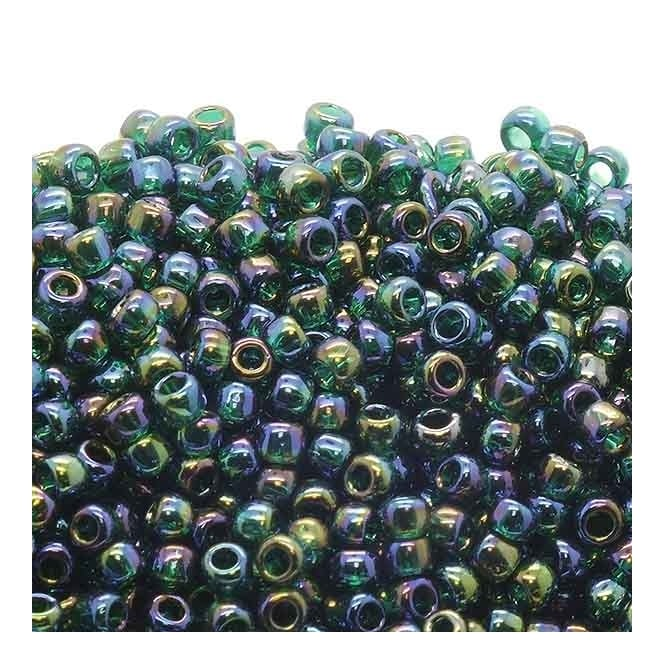 Toho Seed Beads 8/0 - Transparent Rainbow Green Emerald - 10g