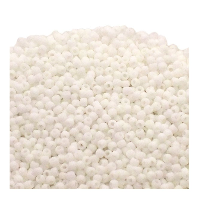 Seed Beads 11/0 - Opaque Frosted White - 10g